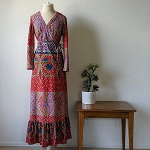 Vintage 70s maxi long sleeved dress